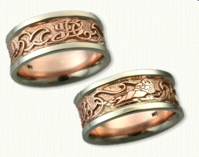 celtic wedding artwork rings ring animal titanium pinterest pin