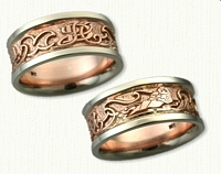Custom 14kt Rose and White Gold Initial & Otter Wedding Band Set