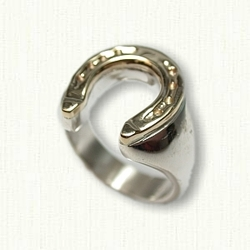 Sterling Silver with 14kt Yellow Gold Top Horseshoe Ring